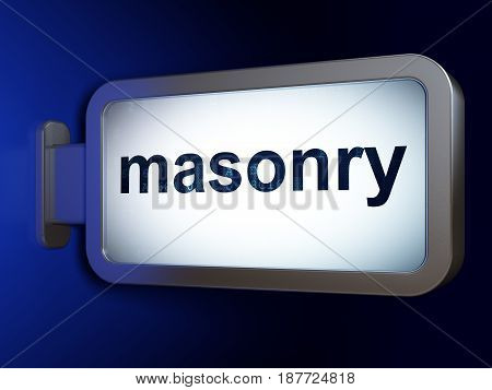 Constructing concept: Masonry on advertising billboard background, 3D rendering