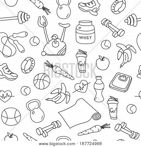 Seamless pattern with isolated fitness doodles. Hand drawn tillable background. Sketchy gym equipment for workout and training sneaker, dumbbell, mat, barbell, cycle, shaker, balls, healthy food