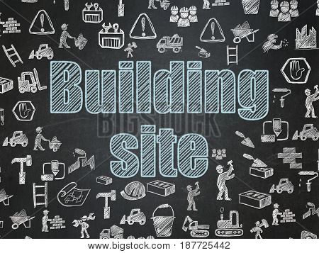 Building construction concept: Chalk Blue text Building Site on School board background with  Hand Drawn Building Icons, School Board