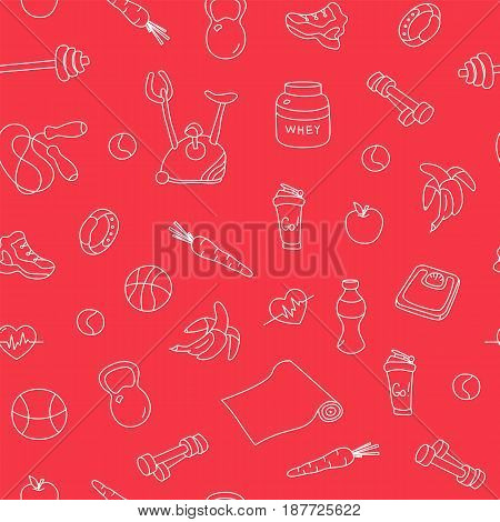 Seamless pattern with fitness doodles on red background. Hand drawn tillable texture. Sketchy gym equipment for workout, yoga, healthy lifestyle sneaker, barbell, cycle, shaker, balls, healthy food