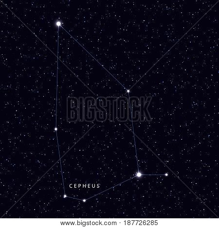 Sky Map with the name of the stars and constellations. Astronomical symbol constellation Cepheus