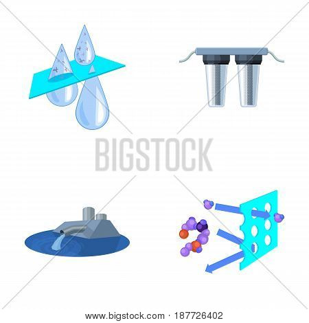 Purification, water, filter, filtration .Water filtration system set collection icons in cartoon style vector symbol stock illustration .