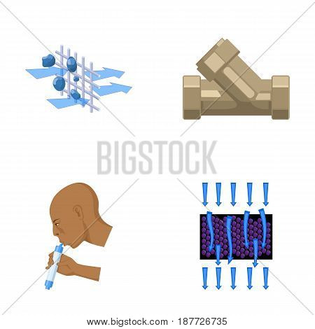 Man, bald, head, hand .Water filtration system set collection icons in cartoon style vector symbol stock illustration .