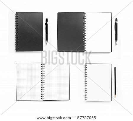Set of black opened and closed notebooks with pen on white
