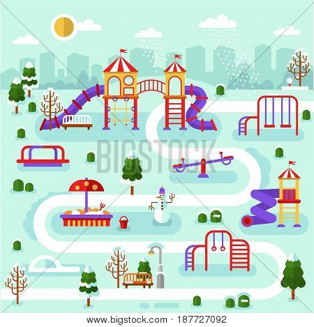 Flat design winter nature landscape of park map with kids playground. Infographics of winter entertainment for children. Vector illustration with snowman, swing, slides, rink, sandbox, snow, road.