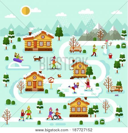 Flat design vector winter illustration of mountain village map. Included houses, rink, road, skiing, ice skating, snowman, disability boy on wheelchair. Ski resort in the countryside.
