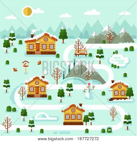 Flat design vector winter illustration of ski resort map. Included houses with icicles on the roof, rink, road, snowman, pond, bench, snowfall, birds, trees. Rest in the countryside.