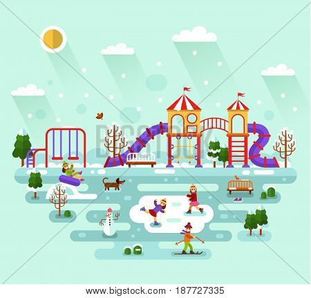 Flat design vector winter landscape illustration of kids playground and equipment with swings, slides and tube, carousel. Skier, dog, bench, girls skating. Amusement park for children.
