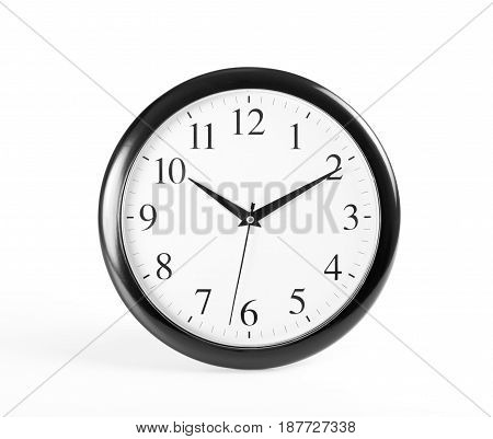 Classic clock on white background, close up