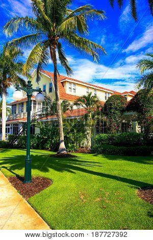 Gasparilla Island, FL, USA - 05/15/2016: The lania at the Gasparilla Inn & Club Boca Grande on Gasparilla Island Florida