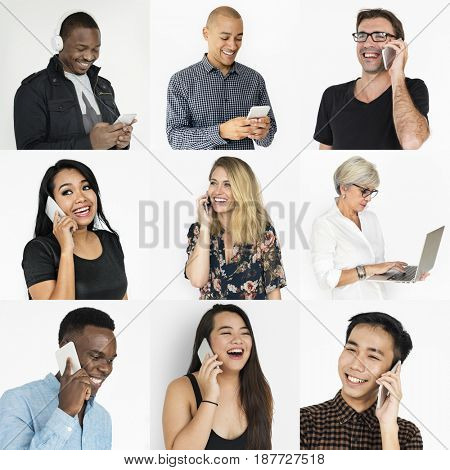 Collages diverse people connected technology