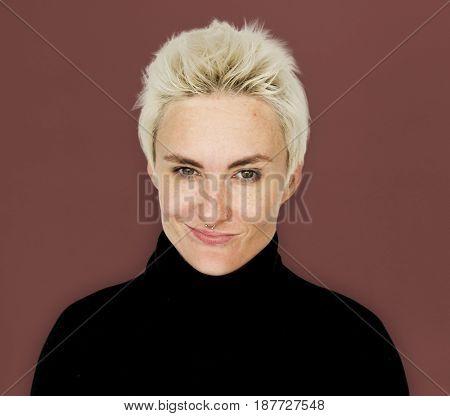 Caucasian Blonde Woman Smirk Smile