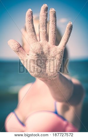 Hand In Sand. Instagram Stylisation