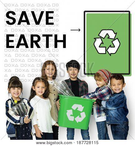 Children holding bucket network graphic overlay background