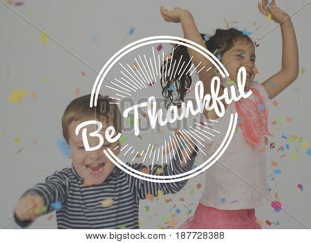 Kids Enjoy Grateful Thankful Word Stamp Banner Graphic