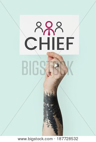 Hand holding banner of leadership business organization graphic