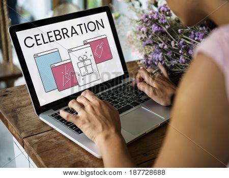 Illustration of anniversary celebration surprise interface