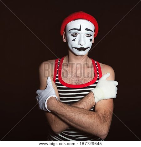 Portrait Of A Tired Thoughtful Mime