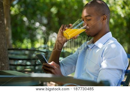 Young man drinking juice while using mobile phone at restaurant