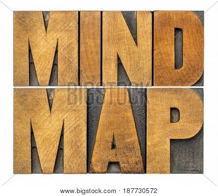 mind map - isolated word abstract in vintage letterpress wood type printing blocks