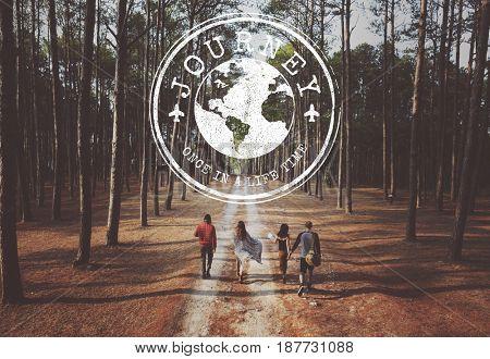 Travel Adventure Graphic Pattern Banner Stamp