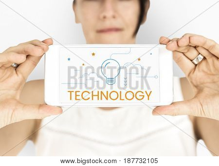 Technology Invention Creative Light Bulb Word Graphic