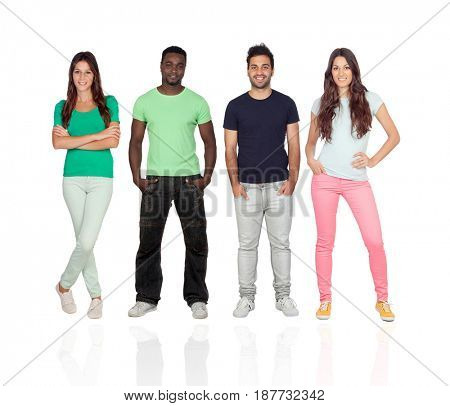 Four different adult persons isolated on a white background