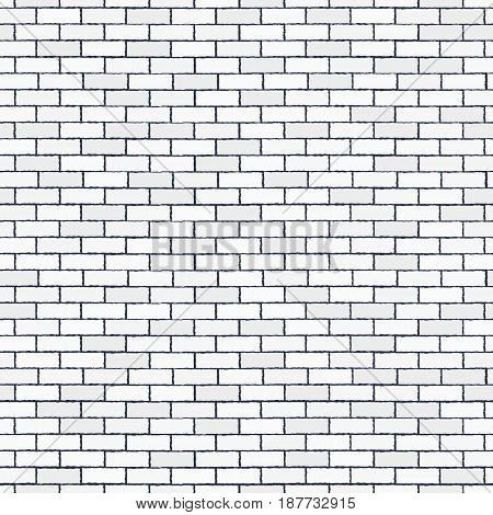 White seamless brick wall. Pattern stonework background. Modern design. Vector illustration.