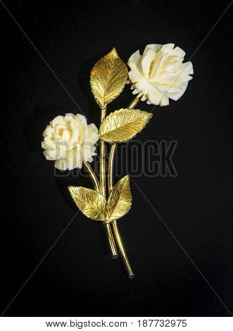 Golden rose. Vintage brooch.