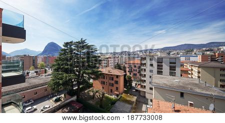 Cityscape of Lugano in Switzerland, view from a palace