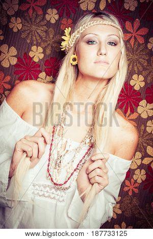 Beautiful blonde pretty hippie girl