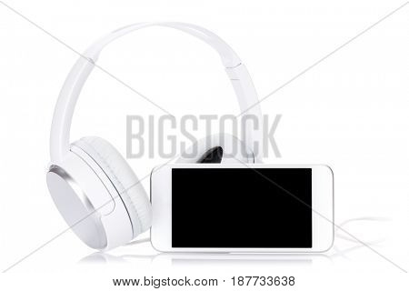 Smartphone and headphones. Online music concept. Isolated on white background