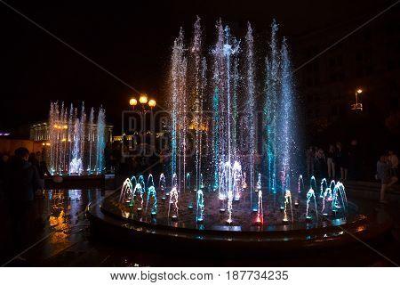 Light And Music Fountains On Maidan Nezalezhnosti In Kiev
