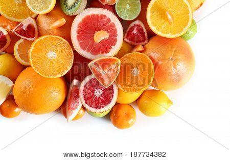 Fresh juicy citrus fruits on white background