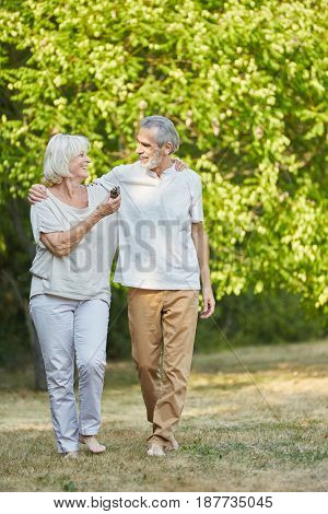 Smiling senior couple walking in the park in summer