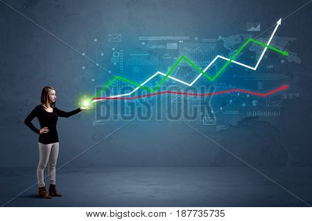 Caucasian woman holding a stock-market, business, finance composition