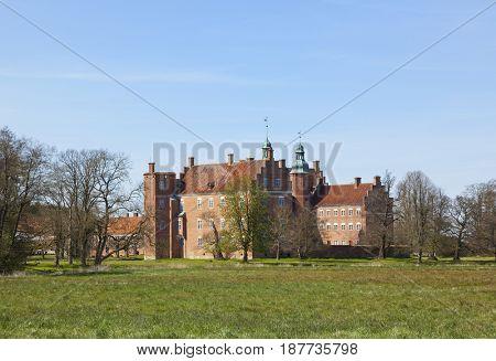 Gammel Estrup, most famous castle of Jutland region, Denmark