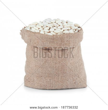 Butter beans in sack bag on white background