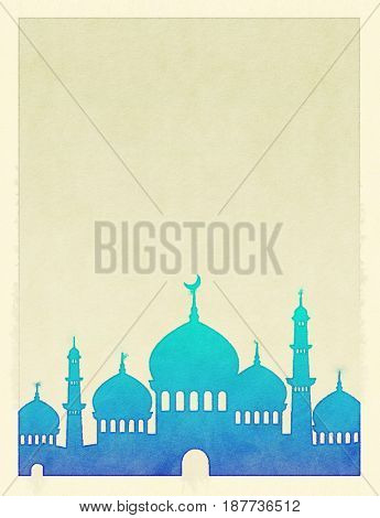 An empty frame with a mosque silhouette. Water-color drawing. Islamic art background.