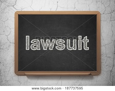 Law concept: text Lawsuit on Black chalkboard on grunge wall background, 3D rendering