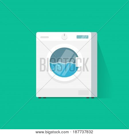 Washing machine vector flat cartoon style vector illustration, working laundry machine or clothes washer isolated on color background