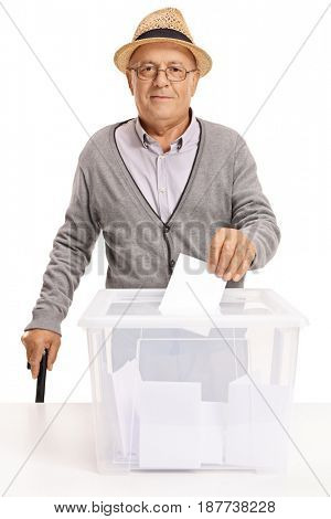 Senior voting and looking at the camera isolated on white background