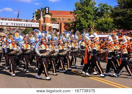 Knoxville, TN, USA - 09/17/2016: The Pride of the Southland Marching Band official name of the University of Tennessee band at Knoxville TN
