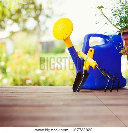 Garden accessories. Watering can, shovel, rake for gardening