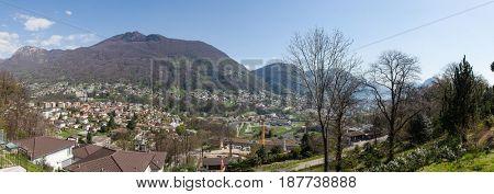 Panoramic of Lugano and mountain