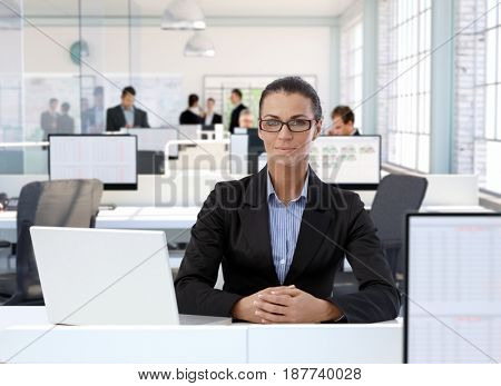 Portrait of mature businesswoman sitting at office desk, people working in background.
