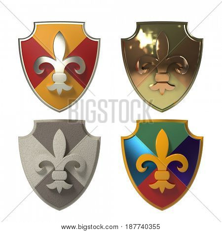 heraldic shields isolated on white background, 3d render