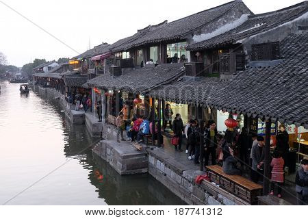 XITANG - FEBRUARY 20: The Chinese architecture and buildings lining the water canals to Xitang town in Zhejiang Province, China, February 20, 2016.