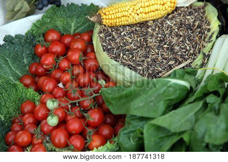 SCITARJEVO, CROATIA - SEPTEMBER 15: Different types of vegetables for sale, exposed at the event Dionysius ceremony in Scitarjevo, Croatia, September 15, 2013.