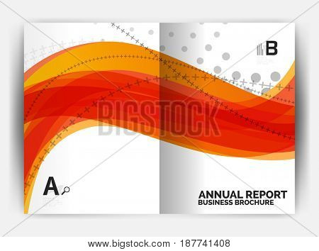 Business report cover template wave, curvy line abstract background with copyspace